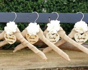 Personalized Name & Date Bridesmaids Hanger, Burlap Hanger, 4 Hangers