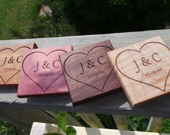 5th Anniversary Gift, Custom Wood Coasters Monogrammed,4 Coasters