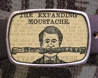 expanding mustache belt buckle, vintage inspired 560
