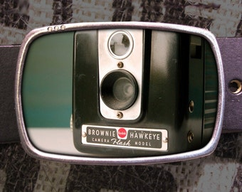 Vintage Brownie Hawkeye Camera Belt Buckle 740