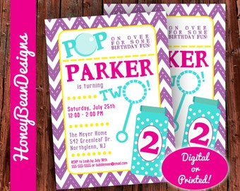 PRINTABLE Bubbles Birthday Party Invitation Bubble Pop On Over Kids Party Girl Pink Purple