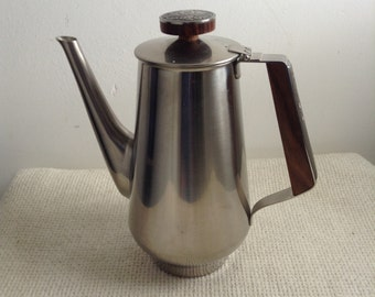 Vintage Modernist 18-8 Stainless Steel Coffee or Tea Server.  Rogers Insilco, Japan.  Mod, Mid century, Danish Modern, Eames era.