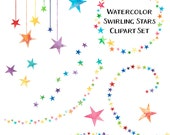 80% OFF SALE Rainbow Star Clip Art, Watercolor Clipart, Rainbow Clip Art, Watercolor Clip Art, Digital Download, Commercial Use
