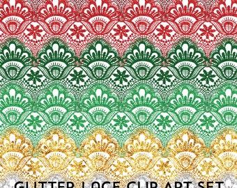 80% OFF SALE Clipart Digital Lace Glitter Borders Clip Art Christmas Glitter Clipart Lace Digital Frames