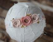 Vintage Pink and Gold Rose Garland Headband or Tieback