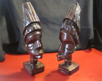 Vintage Hand-Carved Mahogany Wood Tribal African Women Bust Bookends/Set