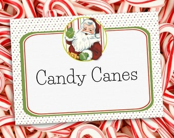 Christmas Party Labels Here comes Santa Claus - INSTANT DOWNLOAD - Editable & Printable Decorations by Sassaby