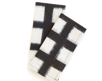 Handwoven Checked Double Ikat Napkin Set Black