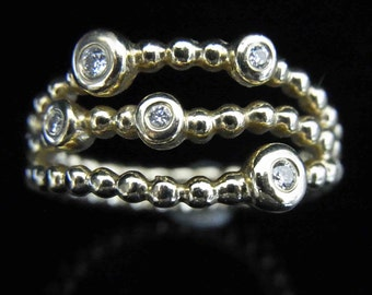 Pandora Precious Memories Diamonds 14k Yellow Gold Triple Bubble Ring Band Sz6.5
