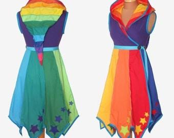 STARRY Rainbow* Knee Length Tournedot Dress With Pixie Hem. 12 stripe positively pixie hood/sleeveless