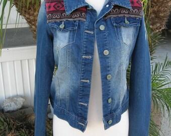 SUMMER SALE Vintage Southwestern Denim Jacket, great fabric detail, stone washed, sz S
