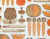 Retro Wallpaper by the Yard 70s Vintage Wallpaper - 1970s Orange and Brown Kitchen Wallpaper with Mixed Veggies Carrots Radishes Onions