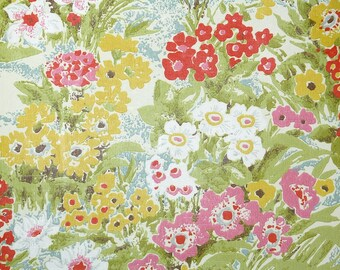 Retro Wallpaper by the Yard 70s Vintage Wallpaper - 1970s Yellow Pink and Red Wildflower Floral