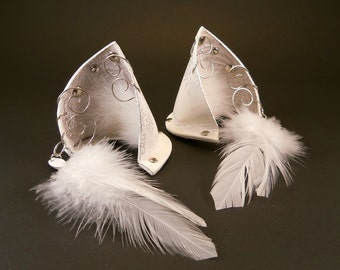 Cloud Cat Silver White Leather Jeweled Cat Ears Nekomimi Cosplay Fantasy Goth LARP Pet Play Costume Kawaii