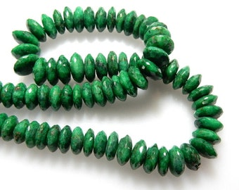 Green Corundum Emerald   German Cut Rondelle Beads Size - 9 To 11MM AAA Quality Sold 14 Inch /Strands