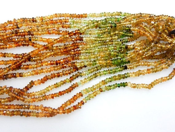 8 Strands 14'' AAA Quality  Petrol Tourmaline Multi Color Faceted Roundelle Beads Size  3mm Approx