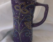 Eco Friendly Ceramic Travel Mug w/lid - Purple flowers, dots, swirls