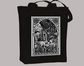 Ornate Vintage Demon Gathering Illustration BLACK or NATURAL Canvas Tote, - Selection of sizes, any color image available