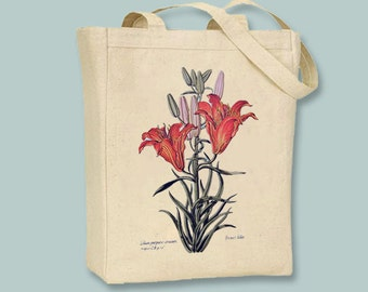 Beautiful Vintage Tiger Lilly flower Illustration Canvas Tote -- Selection of Sizes available
