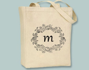 Simple Floral Wreath Monogram illustration Canvas Tote -- Selection of  sizes available, Any initial, image in ANY COLOR