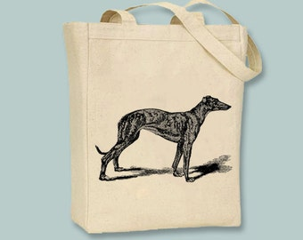 Vintage Greyhound Dog illustration Canvas Tote -- Selection of sizes available, ANY COLOR IMAGE