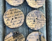 """Buttons 6 Large decorative buttons for cushions or fashion designs 2"""" (50mm) diameter"""
