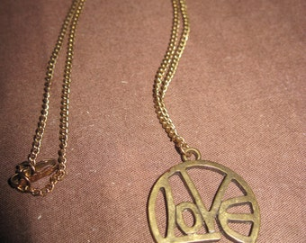 RESCUED/RECLAIMED Vintage Gold & Antiqued LOVE Pendant/Necklace....4197....Special/Everyday