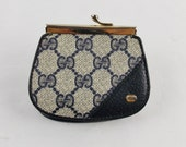 Clearance Vintage Auth  GUCCI NAVY MONOGRAMED  Leather Coin Purse Dead Stock Coated Cavnas Classic
