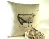 Linen Farmhouse Pillow Cover Sheep Pillow IN STOCK