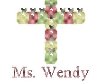 Apples for the Teacher Cross Stitch Pattern