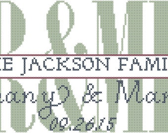 Mr & Mrs Cross Stitch Pattern/Modern Wedding Cross Stitch Pattern/Anniversary Cross Stitch Pattern/Family Name Cross Stitch/Digital Pattern