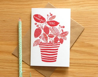 Stripes and strawberries Recycled Card