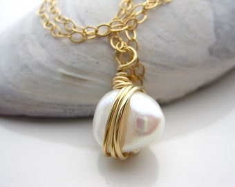 Large Baroque Pearl wire wrapped necklace,14k gold filled wire wrapped large pearl, Freshwater pearl wrapped 14k gold filled necklace, G-42