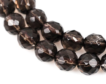 8mm SMOKY QUARTZ Round Beads, faceted, gray, full strand, about 50 beads, gqz0063