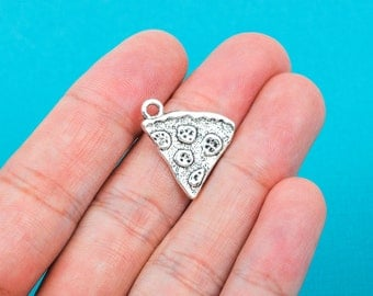 6 Silver Tone Pewter PIZZA Food Charm Pendants chs0163