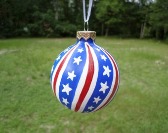 Red White and Blue Glass Hand painted Ornament ,patriotic ornament , christmas ornament #274