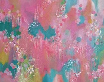 Contemporary Art - Abstract art, nature art, canvas art, abstract painting,sky painting, birds,  original art, large canvas art, colour art