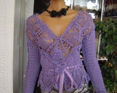 top cardigan in silk lilac romantic 15%OFF OOAK with roses/peplum handmade crochet cardigan spring trends gift idea for her by goldenyarn