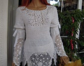 RESERVED handmade 70's style, crochet festival  hippie top,tunic in white cotton ready to ship size L ''Mykonos'' by golden yarn