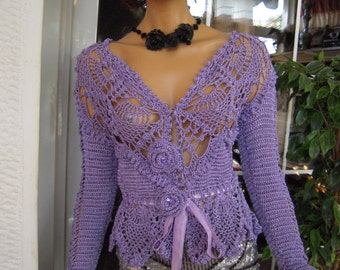 SOLD jacket top lilac silk romantic spring summer wedding afternoon tea at the Ritz top designer fashion ready to ship by golden yarn