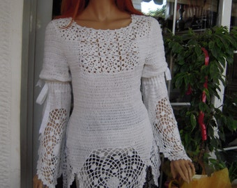 MADE TO ORDER handmade 70's style, crochet festival  hippie top,tunic in white cotton ready to ship size L ''Mykonos'' by golden yarn