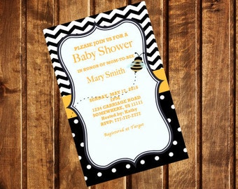 Printable Mom-To-Bee Baby Shower Invitation Template