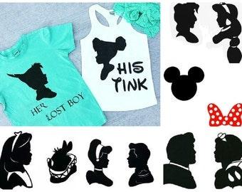 CUSTOM COUPLE SILHOUETTE Duo Shirt and Tank/Tee - baby, toddler, child, adult, couple, disney disneyland princess prince mickey minnie