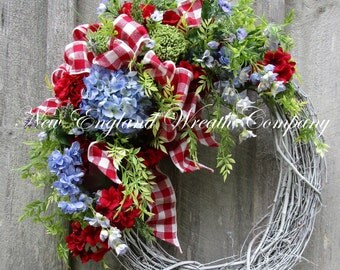 Spring Wreath, Cottage Wreath, Fourth of July, Country French Wreath, Designer Wreath, Elegant Patriotic Wreath, Spring Floral Wreath