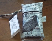 Michael Miller Nevermore White and Black Laminated  Phone Pouch