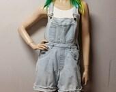Vintage 80s  light wash  Denim Shortalls/Overalls Shorts - Sz  Small