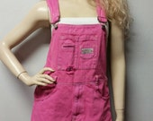 Shortalls Overalls  Hand Dyed  In Red  - Shorts Romper Playsuit Size Waist 35