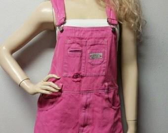 Shortalls Overalls  Hand Dyed  In pink  - Shorts Romper Playsuit Size Waist 35 sz Medium