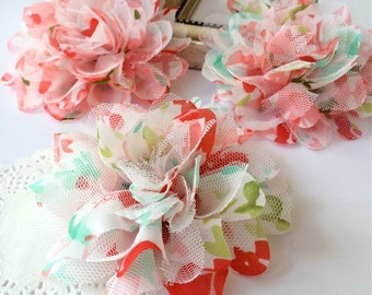 "Coral & Aqua Floral Print Soft Chiffon Tulle Flowers 2 pcs  - 3.75""  fabric flowers Shabby Chiffon mesh Lace Rose Flower hair baby headband"