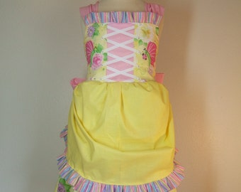 Ready To Ship Retro Corset Apron Jumper Dress Size 4 With Socks to Match